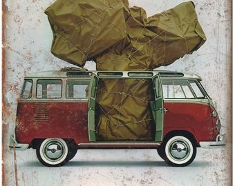 "RARE Vintage Volkswagen Bus Ad 10"" x 7"" Reproduction Metal Sign"