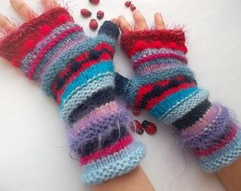 Women Size M 20% OFF Ready To Ship Bohemian OOAK Fingerless Boho Mittens Gloves Striped Accessories Hand Knitted Wrist Warmers Winter 1077