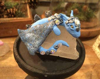 Blue Hand sculpted polymer clay dragon