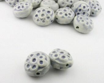 Light blue beads, blue beads, porcelain beads, ceramic beads, circles on bead, organic beads, artist beads, focal beads, artisan beads