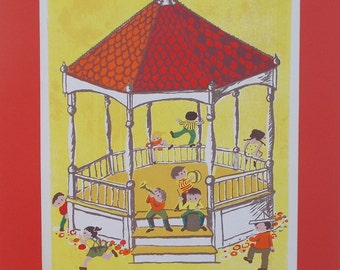 Great Galloping Gazebo, a serigraph by Barbara Fernekes Hughes
