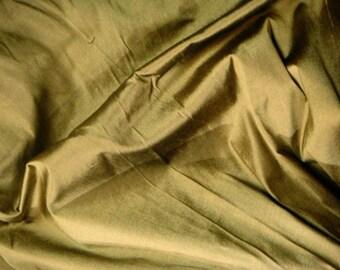 Silk Dupioni Fabric - antique bronze 100% pure silk - 1 yard - sld154