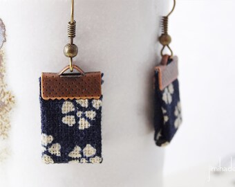 Earrings Japanese fabric blue floral print