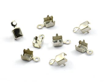 Nickel Crimp Ends, 125 Nickel Free Plated Rhinestone Chain Connectors, Crimp Ends For 4.30mm/4.40mm Chain, S414 H259