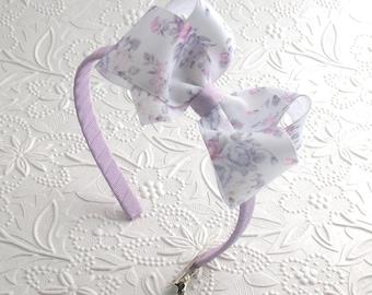 Toddler Bow Headband, Bow Headband, Lavender Floral Bow Headband, Girls Headband, Flower Girl Bow Headband, Girls Hard Headband