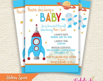 Modern Outer Space BABY SHOWER Invitation - by Celebration Lane