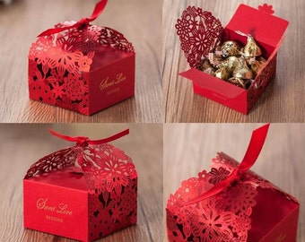10pcs  Wedding Favor Boxes, Thank You Gift Boxes,  Sweet Candy Party Favor Box, Red Wedding Boxes