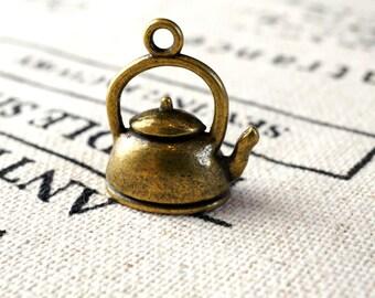 Kettle teapot 4 charms  antique bronze vintage style pendant charm jewellery supplies C165