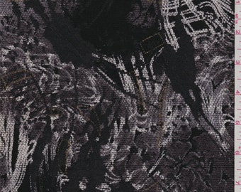 Black/Charcoal Abstract Chenille Jacquard, Fabric By The Yard