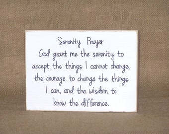 Serenity Prayer Sign, Rustic Cottage Wooden Home Decor, Wall Hanging Quote, Inspirational Office Religious Plaque, Spiritual AA Verse