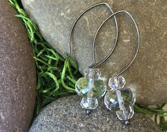 Faceted Quartz Crystal Triple Stacked Stones on Oxidized Sterling Silver Hoop Ear Wires