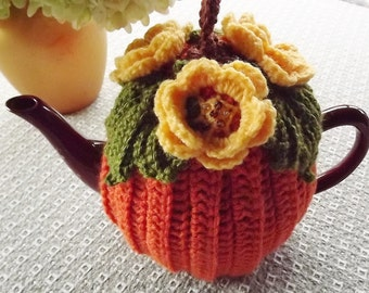 Pumpkin Crochet Tea Cozy, Pumpkin Tea Cozy, Orange Tea Cozy, Yellow Flower Tea Cozy,  Crochet  Tea Cozy, Tea Pot Hat, Fall Tea Cozy