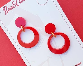 Baby Vivien hoop earrings - Red