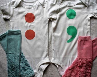 Semicolon baby bodysuit/Semicolon outfit for baby/Semi colon baby outfit/Semicolon outfit for twins/Semicolon bodysuit/Colon baby outfit