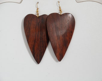 Handcrafted Wood Wooden Earrings Black Color