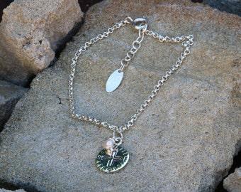 Compass Bracelet, Peace Bracelet, Freshwater Pearl, Compass Charm Bracelet, Sterling Silver Bracelet, Freshwater Pearl Bracelet