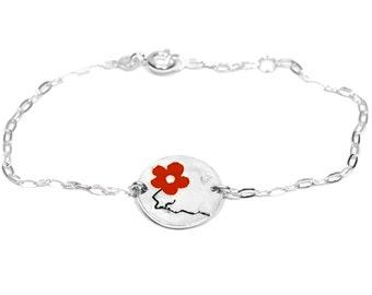 Red Cherry Blossom bracelet. Sterling silver.