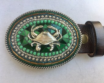 Mosaic Belt Buckle, Crab Buckle, Maryland, Custom Belt Buckle, Handmade Belt Buckle, Leather Belt, Camilla Klein, Green Belt, Large Buckle