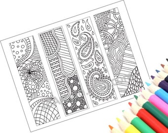 Zentangle Inspired Bookmarks, Printable Coloring, Digital Download, Sheet 9