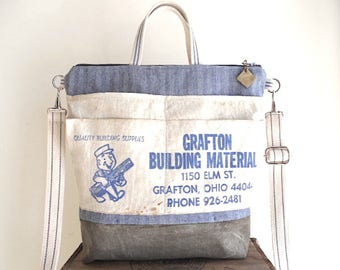 Lumber apron, waxed canvas & herringbone denim tote - vintage Grafton, Ohio  - eco vintage fabrics