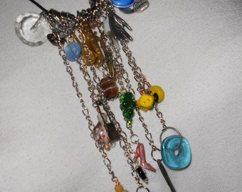 Boho Chained Treasures, Leather, Chain and Charms Necklace