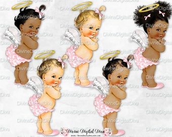 Pink & Gold Angel Wings Halo Ruffle Pants | Vintage Baby Girl 3 Skin Tones Afro Puffs | Clipart Instant Download