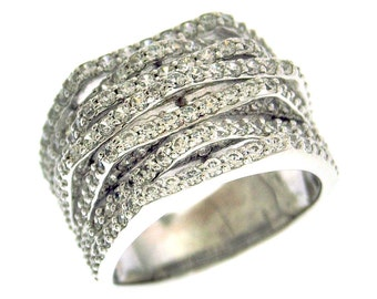 Swarovski 7 Layer Band Sterling Silver Ring CZ