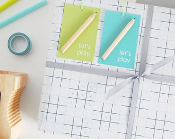 LET'S PLAY Noughts And Crosses Wrapping Paper Set Interactive Creative Gift Wrap XOXO Kids Activity Paper Father's Day Activity Gift Wrap