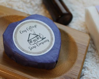 Four Lovely Lavender Heart-shaped Coconut Oil Guest Soaps - 100% palm oil free