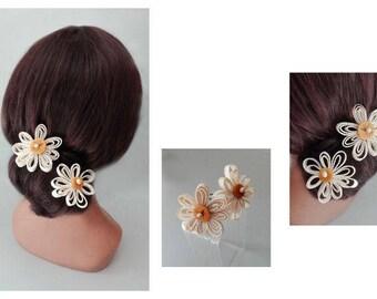 peak bun flower, hair pin bride, wedding ceremony woman Hat hair stick