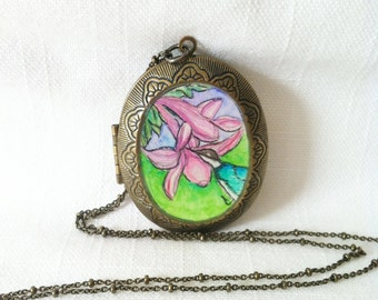 Hummingbird locket hand painted watercolor illustration necklace