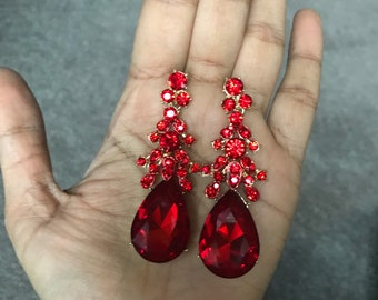 """2.5"""" Red gold rhinestone crystal long pageant prom dangle earrings"""