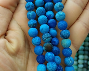Matte Peacock Blue Frosted Agate,Matte Royal Blue stone 8mm Round Beads- 47pcs/Strand