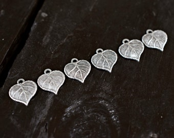 Tiny Antiqued Silver Leaf Charms, 6pcs