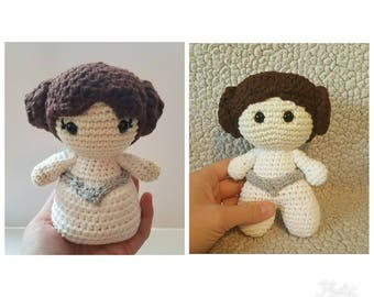 Crochet Princess Leia doll, princess leia big head doll, crochet princess leia amigurumi, starwars toy, princess leia doll, leia ami