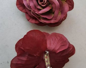 2 tone Burgundy Sage Silk flower pin Brooch 3.5""