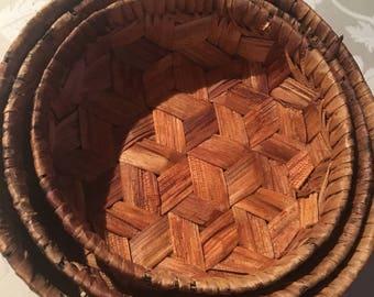 Three Bamboo Weaved Nesting Baskets
