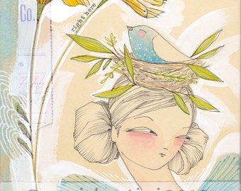 bird in a nest - girl and bird - whimisical wall art  - archival and limited edition print by cori dantini