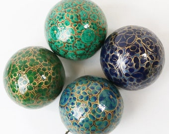 4 Hand Painted Christmas Ornaments - Paper Mache Made in India