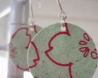 Red and Green Cherry Blossom Earrings