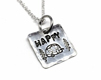 Happy camper necklace, Sterling Silver Charm Necklace, Inspirational jewelry, Gift for Women