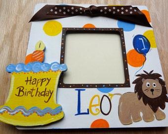 Custom Painted Picture Photo Frame Keepsake Boutique Frame Lion Boys Birthday,1st Birthday,Party Decor