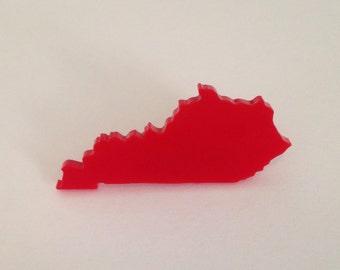 Kentucky Shape Brooch - State Pin  - Red Acrylic Lasercut - Small Size