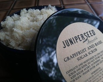 Pink Grapefruit and Basil Sugar Scrub - eco-friendly post consumer resin jar - made with Organic Ingredients