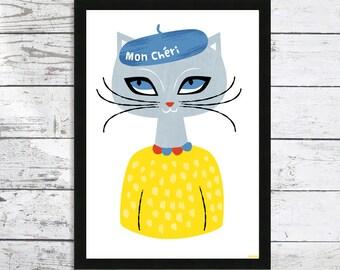 Mon Cheri In a Beret Giclee Cat print - Cat Lover gift - Cat art print - Cat prints - Cat picture - Cat wall art