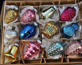 Box 12 Christmas Ornaments, We have more in our shop, Baskets, Grapes, Decorations, Indents, stripes, Over 100 ornaments in our shop,  #48