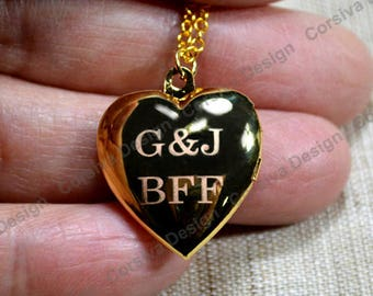 Engraved Heart Locket Necklace Personalized Initial 20mm Plain Round Raw Brass BBF (Best Friend Forever )