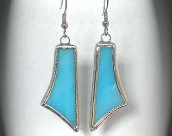 Turquoise Stained Glass Earrings
