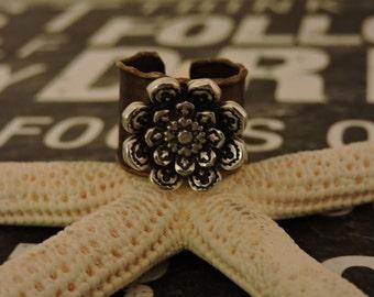 Brass Ring, Flower Ring, Antique Silver, Adjustable Ring, Raw Brass, Silver Flower, Wide Band, Antique Bronze, Band Ring, Brass, Siljewel