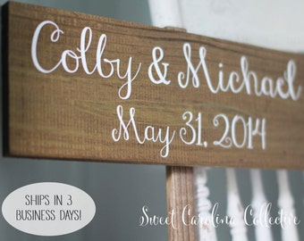 Rustic Wedding Signage, Wooden Wedding Sign With Bride and Grooms Names and the Wedding Date WS-59